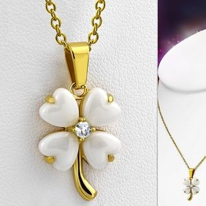 Jewelry - White Ceramic & Gold Color Plated Stainless Steel
